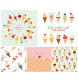 ice cream big set seamless patterns templates vector image