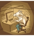 Mouse work at office cartoon vector image