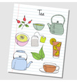 tea doodles lined paper colored vector image
