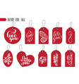 valentines day gift tags and cards calligraphy vector image