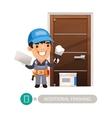 Worker Performs Finishing Doorway Work vector image