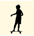 a silhouette of a little boy riding fast on a vector image