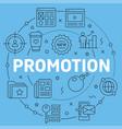 blue line flat circle promotion vector image