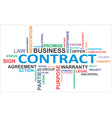 word cloud contract vector image