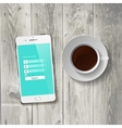Coffee Cup with wooden Tablet vector image