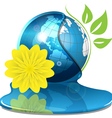globe with water and yellow flower vector image vector image