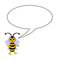 A funny cartoon bee with a talking bubble vector image
