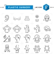 Plastic surgery concept Black thin line icons vector image