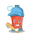 playing baseball aerosol spray can character vector image