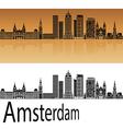 Amsterdam V2 skyline in orange vector image
