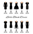 set of little black dresses on mannequins vector image