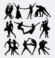 Couple ballet dancing silhouette vector image