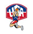 Basketball Player Shooting Jumping Ball vector image