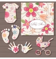Baby shower on wooden background vector image