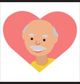 drawing of icon elderly man in the heart vector image