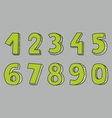 Hand drawn green numbers isolated on grey vector image