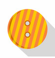 striped orange and yellow clothing button icon vector image