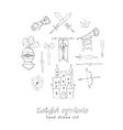 Sketch knight symbols and elements set vector image