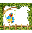 A colorful parrot under a big tree vector image vector image