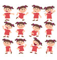 Cartoon character girl set with different postures vector image
