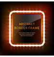 Glowing neon square frame with light bulbs vector image
