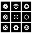 black gear icon set vector image