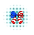Bow in the USA flag colors icon comics style vector image