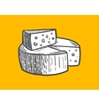 Cheese engraving style vector image