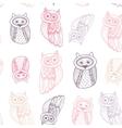 Decorative Hand dravn Cute Owl Sketch Doodle Pink vector image