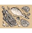fresh meat set of sketch elements hand vector image