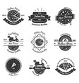 hot pizza delivery emblems vector image
