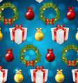 New year pattern with tree toys gift ribbon and vector image