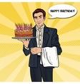 Pop Art Waiter Holding Tray with Birthday Cake vector image