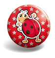 Red ladybug on round badge vector image