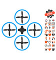 quadcopter icon with lovely bonus vector image