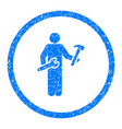 serviceman rounded grainy icon vector image