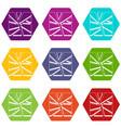 broken glass icon set color hexahedron vector image