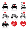 I love cars and bikes icons set vector image vector image