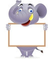Elephant with blank sign vector image