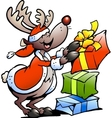 Hand-drawn of an Reindeer with gifts vector image vector image