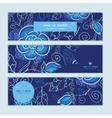 blue night flowers horizontal banners set pattern vector image