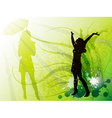Bright Green Backdrop with a Silhouette of a Girl vector image