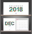 december 2018 calendar desk calendar modern vector image