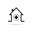 house with cross black vector image