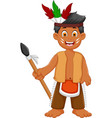 funny man indian tribal cartoon posing vector image vector image