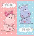 hippos boy and girl vector image