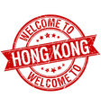 welcome to Hong Kong red round ribbon stamp vector image