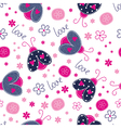 Cute seamless pattern with ladybugs vector image