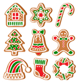 Set of Gingerbread Christmas Cookies Isolated on vector image