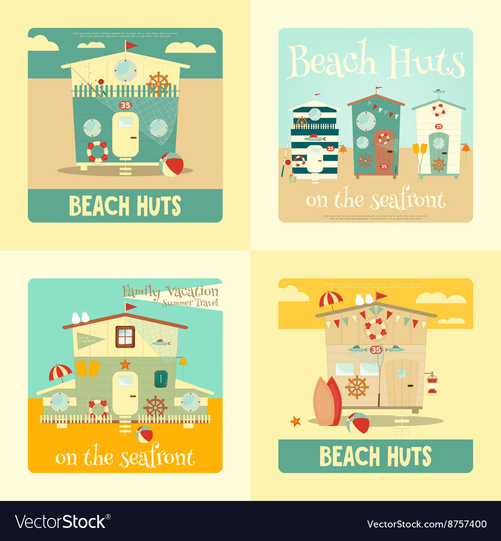 Beach huts placard vector